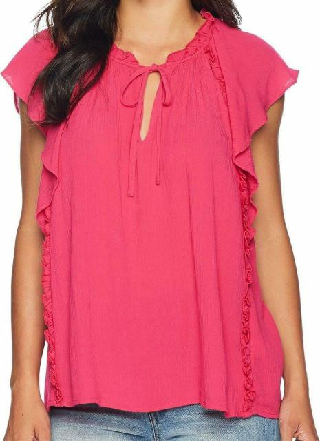 CeCe ファッション トップス CeCe Womens Pink Size Small S Ruffle Trim Tie Neck Keyhole Knit Top