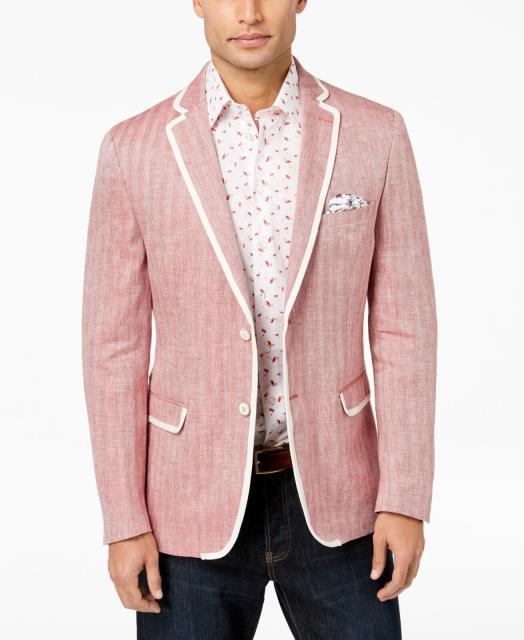 大人気の Blazer ブレザー ファッション Two フォーマル Linen Tallia ファッション Mens Blazer Red White Size 36 Short Linen Piped Two Button, 芳賀郡:d8d3cc8c --- nak-bezirk-wiesbaden.de