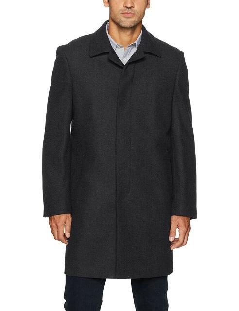 【爆買い!】 ファッション アウター IKE BEHAR Mens Coat Solid Black Size 48R Button Down Trench Wool, 買援隊2号店 c3df3422