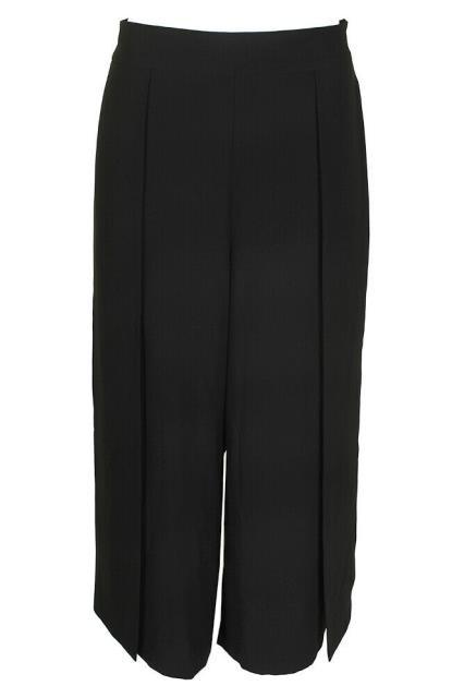 DKNY ダナキャランニューヨーク ファッション パンツ DKNY Black Wide Leg Cropped Crepe Trousers