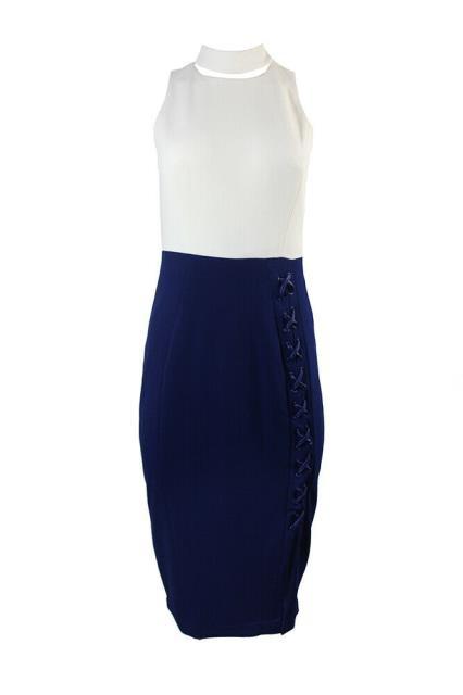 ファッション ドレス Jax Navy White Sleeveless Choker-Neck Crepe Sheath Dress 8