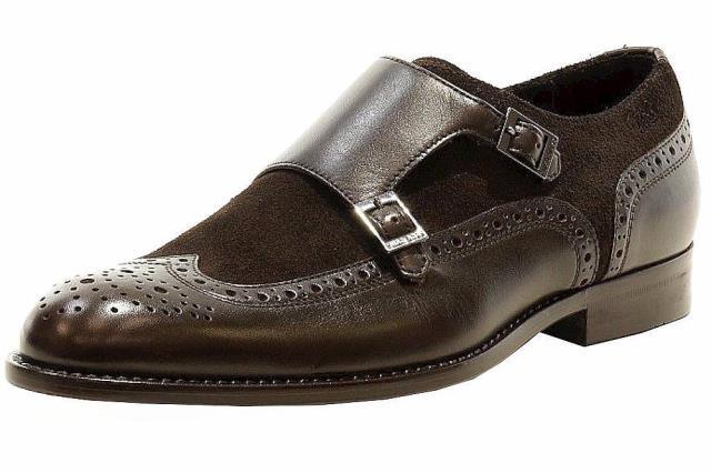 【保障できる】 BOSS ボス ファッション ドレスシューズ Hugo Boss Mens Brandeno Monk-Strap Dark Brown Leather Oxfords Shoes, 大畑町 05d45131