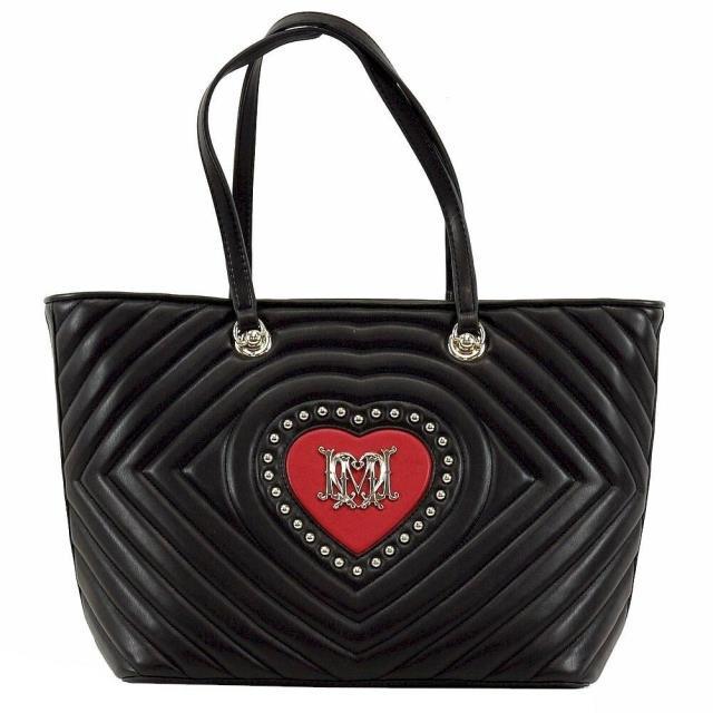 【驚きの値段】 Heart Handbag Womens ラブモスキーノ バッグ ファッション Leather Tote Studded LOVE Moschino Love Moschino-バッグ