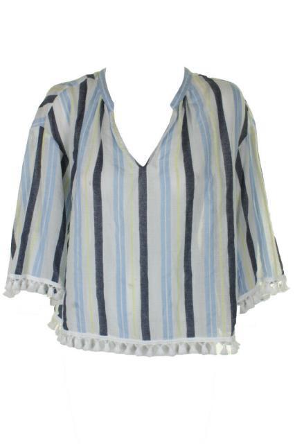 Vince ヴィンス ファッション トップス Vince camuto yellow blue 3/4 - sleeve cotton pom pom blouse