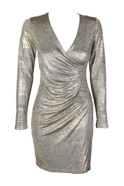 Calvin Klein カルバンクライン ファッション ドレス Calvin Klein Petite Gold Metallic False Wrap Pencil Stick Shift Dress 0P