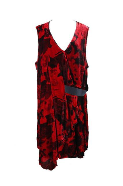 Rachel Roy レイチェルロイ ファッション ドレス Rachel Rachel Roy Plus Size Red Draped Velvet Printed Dress 16W