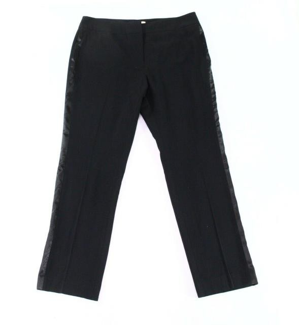 ファッション パンツ Emaline Black Women Size 14 Straight-Leg Side Satin-Trim Dress Pants
