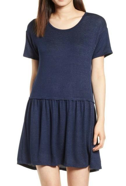 Bobeau ボビュ ファッション ドレス Bobeau Womens Navy Blue Size XS Scoop Neck Pleated Skirt Shift Dress