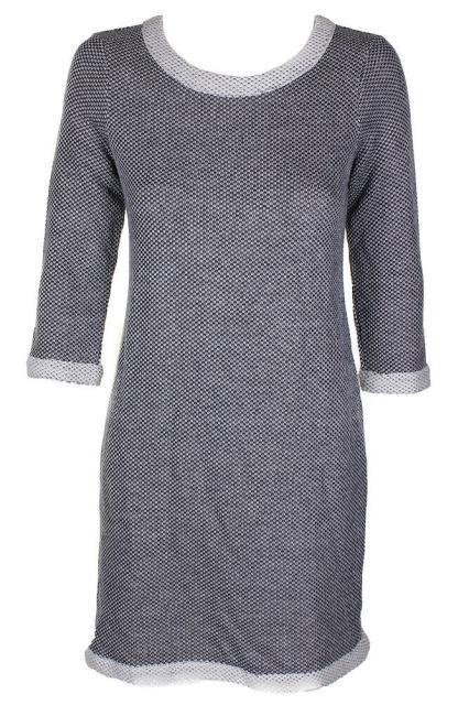 Maison ファッション ドレス Maison Jules Black White Knit Boat Three Quarter Sleeve Knee Length Shift Dress