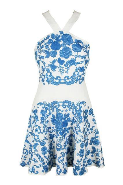 ファッション ドレス Foxiedox White Blue Sleeveless Embroidered Halter Fit & Flare Dress M