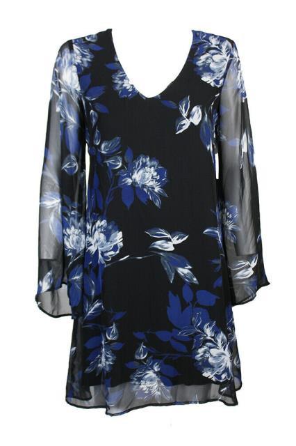 Karen Kane カレンケーン ファッション ドレス Karen kane black multicolor print flared-sleeve shift dress xs