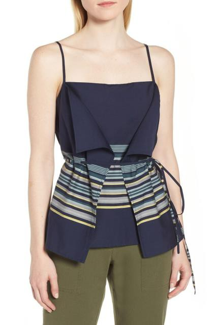 Nordstrom ノードストローム ファッション トップス Nordstrom Signature NEW Blue Womens Size XL Striped Camisole Blouse