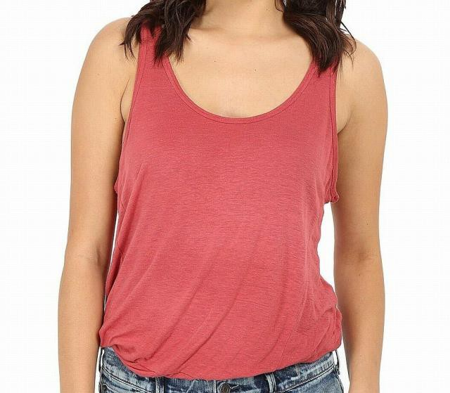 Free People フリーピープル ファッション トップス Free People NEW Red Womens Large L Scoop Neck Tank Sleeveless Cami Top