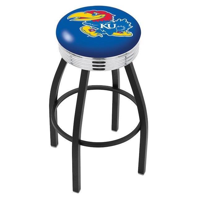 【本物保証】 Holland Bar Stool Co. ホランド バー スツール スポーツ用品 Kansas Jayhawks 25 Black Wrinkle Swivel Bar Stool with Chrome Ribbing, 京都 森乃家 59fd19ea