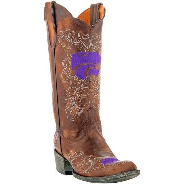 贈り物 Game Day Boots ゲーム デイ ブーツ スポーツ用品 Kansas State Wildcats Womens Tan 13 Embroidered Boots, プリンカップのお店suipa cd8d2a42