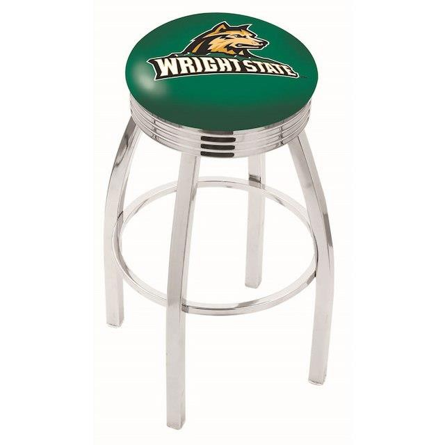 クラシック Holland Bar Stool Co. ホランド バー スツール スポーツ用品 Wright State Raiders 25 Chrome Swivel Bar Stool with 2.5 Ribbed Accen, 紫波郡 b6435f04