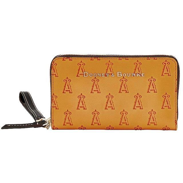 【正規通販】 Dooney & Bourke ドゥーニー アンド バーク スポーツ用品 Dooney & Bourke Los Angeles Angels Womens Brown Cognac Large Zip-Around P, サックスバー c91610d9