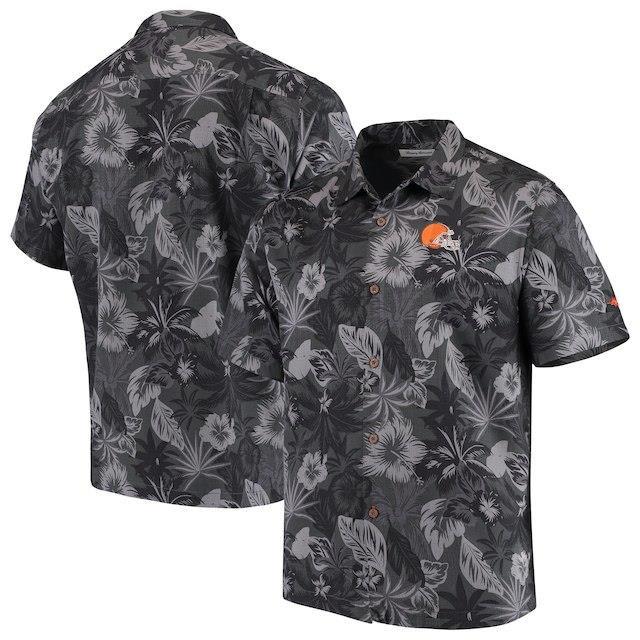 国内発送 Tommy Bahama トミー バハマ スポーツ用品 Tommy Bahama Cleveland Browns Black Fuego Floral Woven Button-Up Shirt, 安土町 73c08a6e