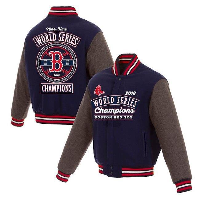 品質満点 JH Design ジェイエイチ デザイン スポーツ用品 JH Design Boston Red Sox Navy 2018 World Series Champions Wool Reversible Full-Sna, 南木曽町 8de637fc