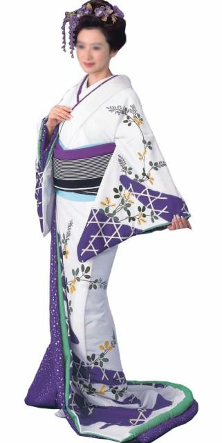 買い誠実 裾引き すそひき 比翼付 仕立上り 白地 かごめに萩紫地 銀箔小石 比翼 70003, Garden75 e9412951