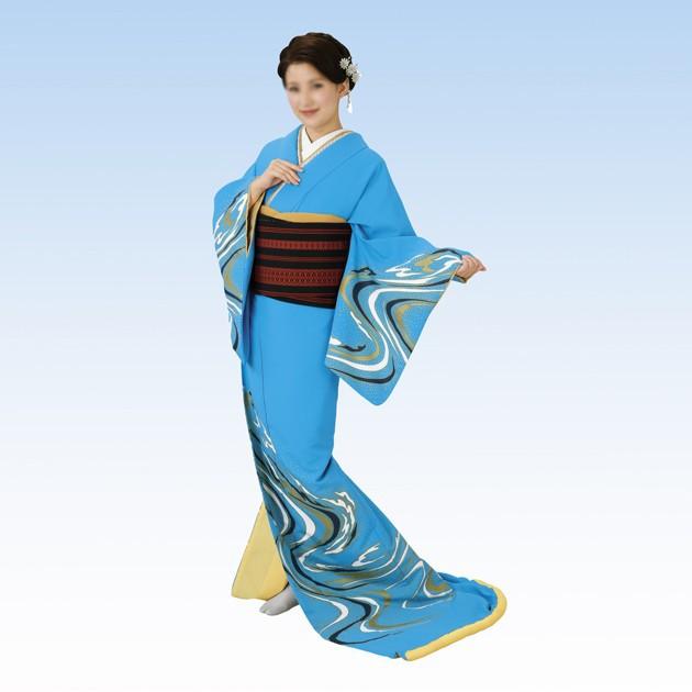 消費税無し 裾引き 着物 きもの 仕立て上がり水色地 流水 日本の踊り, ヤマゾエムラ 21f9c6bd