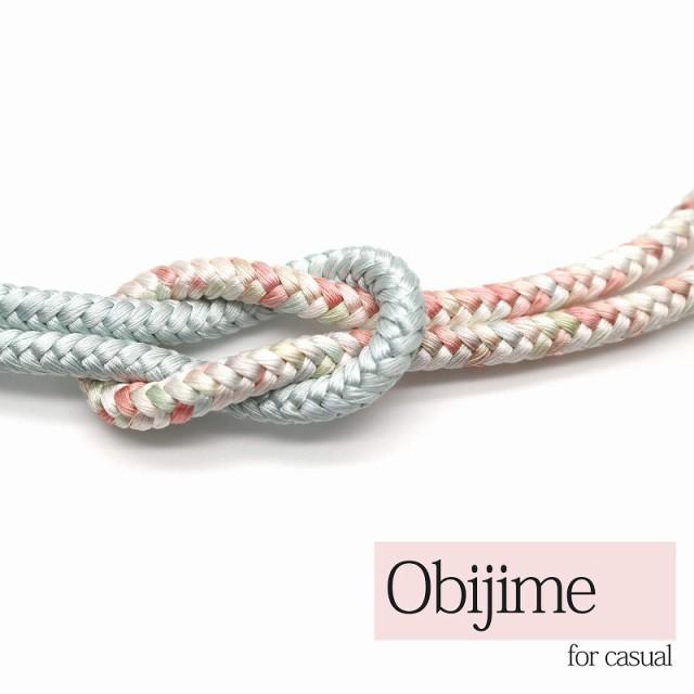 帯締め 正絹 丸組 薄水色 カジュアル用 普段着用 新品 メール便対応可能