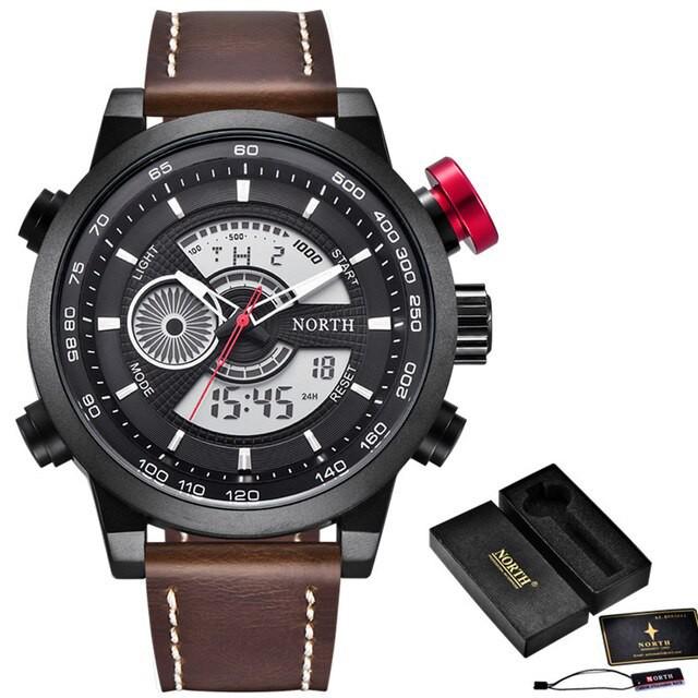 第一ネット 北の腕時計男性高級ブランドアナログミリタリー腕時計男性革カジュアルクォーツ時計防水デジタル時計レ Brown Brown Black Box, HONEY SPOON ハニースプーン:3ffda85e --- kzdic.de