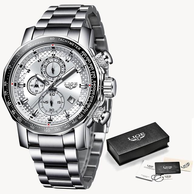 【本物新品保証】 レロジオMasculino LIGE新しいスポーツクロノグラフメンズ腕時計トップブランドの高級フルスチ Silver white, 高市郡 32641191