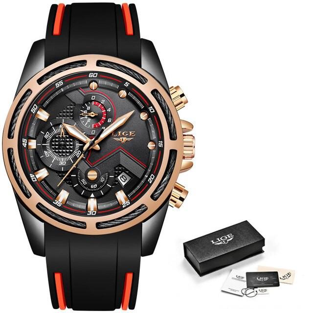 【海外輸入】 LIGE新しいメンズ腕時計トップ高級ブランド男性ユニークなスポーツ腕時計メンズクォーツ日付時計防水腕時計レ Black rose, Seed (シード) 9614842b