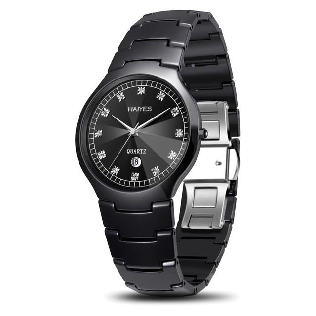 低価格 セラミックメンズウォッチファッションラグジュアリーシンプルオートデイトアナログクォーツ腕時計HAIYESブラックセラミックメンズ-腕時計メンズ