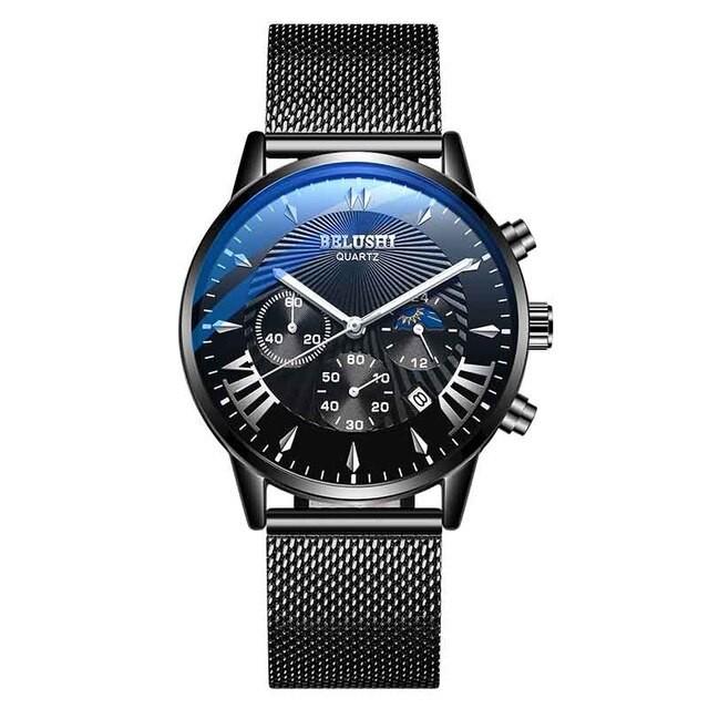 新着 BELUSHIファッション男性腕時計トップブランド高級2019スチール防水クロノグラフクォーツ時 blacksteelblack-腕時計メンズ