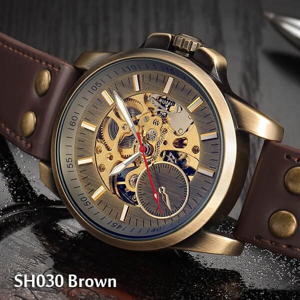 【高額売筋】 SH030C トップ自動時計男性高級スチームパンク機械式時計ヴィンテージブロンズスケルトン時計2019ブランド時計ドロップ配送時-腕時計メンズ