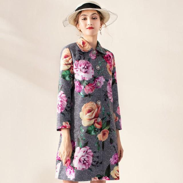美しい セットアップ 送料無料 バラ柄襟ビジューボタン長袖付きAラインコートノースリーブワンピーススーツ♪ブラック 黒 お嬢様 大人 女, QMA d3c0a4ee