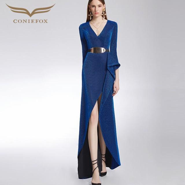格安即決 【CONIEFOX】高品質★Vネックラメフリルベルト七分袖付きスリットスレンダーラインロングドレス♪ブルー 青 ロングドレス 大きいサイ-ドレス