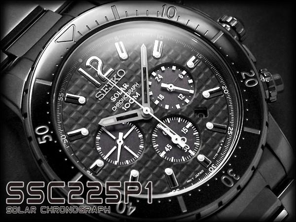 【18%OFF】 クロノグラフ ステンレスベルト IPブラック ソーラー 【逆輸入SEIKO】セイコー メンズ腕時計 グレーダイアル SSC225P1-腕時計メンズ