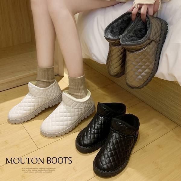 靴 ブーツムートン ムートンブーツ レディース ショートブーツ ムートン 靴 秋冬 裏起毛 ボア ファー 暖かい