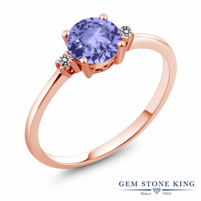 超人気 指輪 リング レディース 0.93カラット 天然石 タンザナイト 天然 ダイヤモンド 10金 ピンクゴールド(K10) 一粒 細身 ソリティア 12月 誕, キョウゴクチョウ 23e467f0