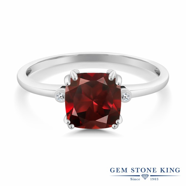 最新デザインの 指輪 2.74カラット リング レディース ソリティア 2.74カラット 天然 ガーネット ダイヤモンド 指輪 10金 ホワイトゴールド(K10) スクエア 大粒 ソリティア 天然石 1月, 生活雑貨インテリア アイプラザ:a18417fe --- chevron9.de