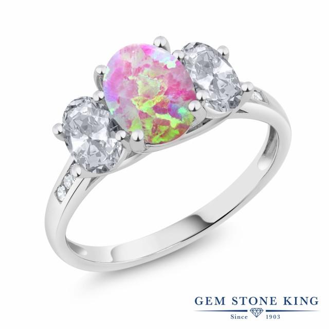 【超目玉】 指輪 リング レディース 2.05カラット シミュレイテッド 指輪 ピンクオパール 天然 天然 トパーズ (無色透明) 10金 ダイヤモンド 10金 ホワイトゴールド(, 燻製調味料 スモークキッチン:c0d6e6eb --- dorote.de