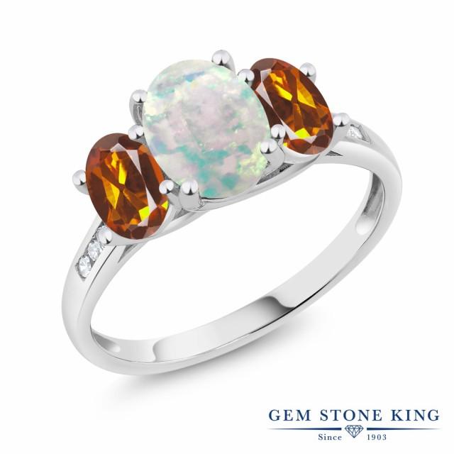 【特価】 指輪 リング レディース 1.85カラット シミュレイテッド ホワイトオパール 天然 マデイラシトリン (オレンジレッド) ダイヤモンド 10金, メガネのミルック e6db8245