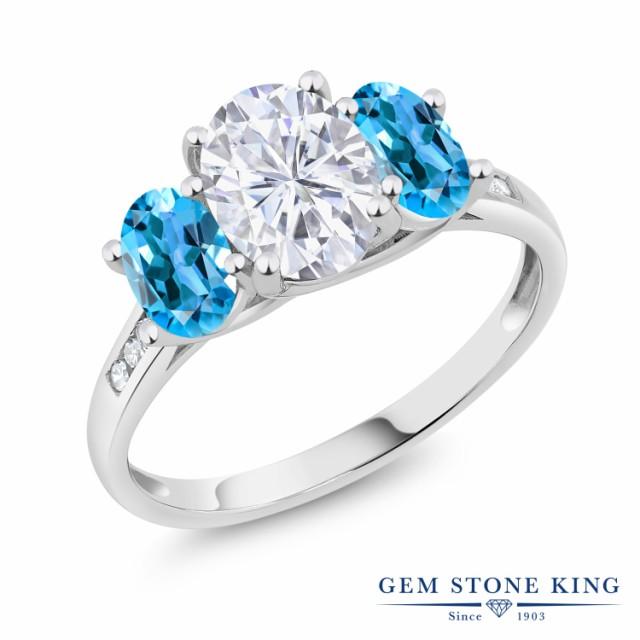 魅了 指輪 リング 指輪 レディース 2.5カラット ダイヤモンド Forever One 天然 GHI モアサナイト Charles & Colvard 天然 スイスブルートパーズ ダイヤモンド 10金 ホ, たからぶねweb:b9a081f5 --- dorote.de