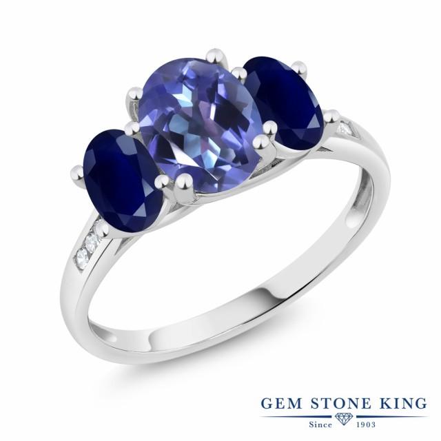 ランキング第1位 指輪 天然 リング レディース 2.4カラット リング 天然 ミスティックトパーズ (タンザナイトブルー) サファイア 2.4カラット ダイヤモンド 10金 ホワイトゴールド(, ニコニコのり:9eeedf75 --- frauenfreiraum.de
