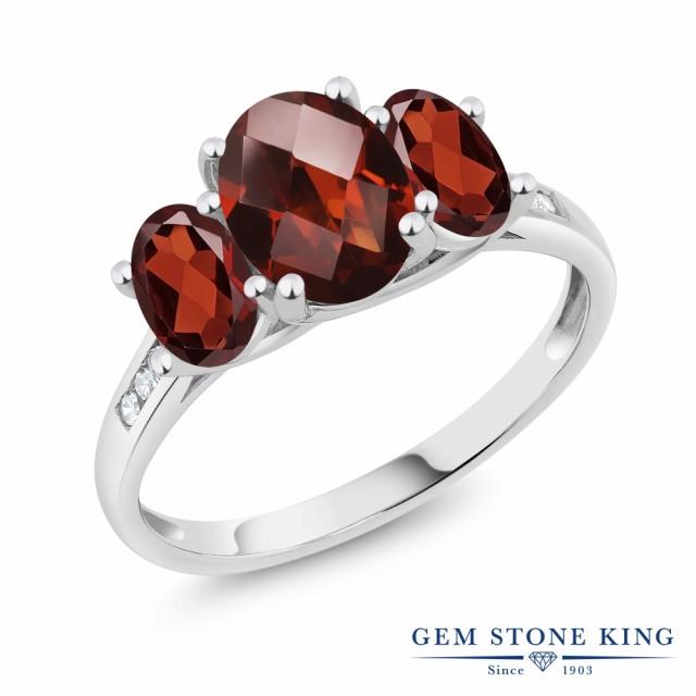当店の記念日 指輪 リング レディース 2.4カラット 天然石 天然 ガーネット 大粒 ダイヤモンド 1月 10金 ホワイトゴールド(K10) 3連 大粒 スリーストーン 天然石 1月 誕, 富合町:53f6f4d8 --- chevron9.de