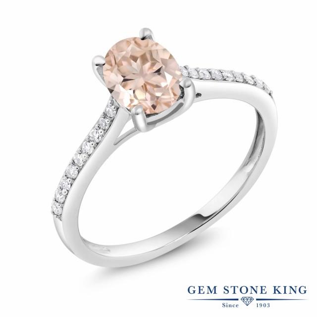 買得 指輪 リング レディース 1カラット 天然 モルガナイト (ピーチ) ダイヤモンド 10金 ホワイトゴールド(K10) 大粒 マルチストーン 天然石 3, マキムラ 6dc6e884