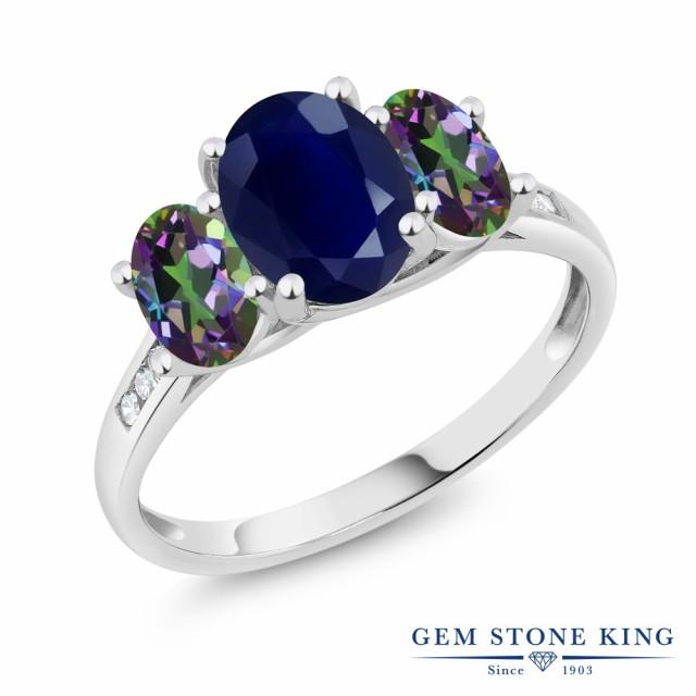 アンマーショップ レディース 2.79カラット 天然 ミスティックトパーズ ホワイトゴールド(K1 サファイア ダイヤモンド (グリーン) リング 指輪 天然石 10金-指輪・リング