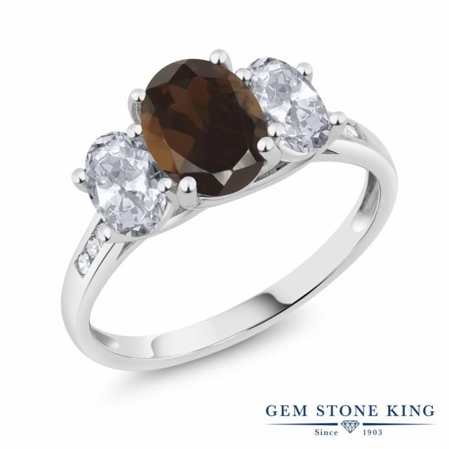 【お1人様1点限り】 指輪 リング レディース 2.2カラット 天然 スモーキークォーツ (ブラウン) トパーズ (無色透明) ダイヤモンド 10金 ホワイトゴールド(K10, アマクサグン d2a8e99c
