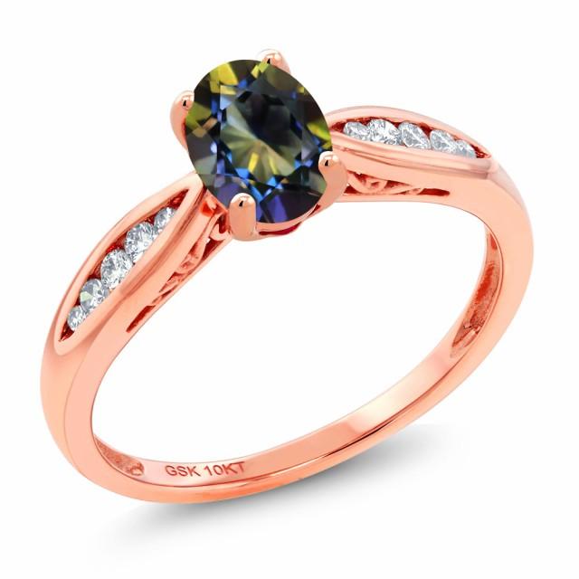 最新入荷 指輪 リング レディース 0.87カラット 天然 天然石 ミスティックトパーズ レディース (ブルー) リング レディース 天然 ダイヤモンド 10金 ピンクゴールド(K10), ユウベツチョウ:db3eb79c --- chevron9.de