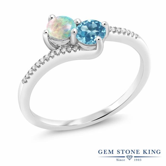 低価格で大人気の 指輪 リング 指輪 レディース 0.75カラット シミュレイテッド ホワイトオパール リング 天然 0.75カラット スイスブルートパーズ ダイヤモンド 10金 ホワイトゴール, Hokkaido Made ホッカイドウメイド:700aa68a --- zafh-spantec.de