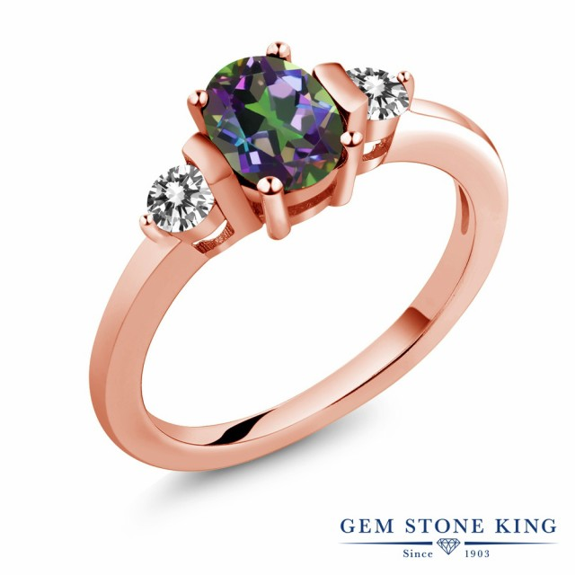 【特別セール品】 指輪 リング レディース 1カラット 天然石 ミスティックトパーズ (グリーン) 天然 ダイヤモンド シルバー925 ピンクゴールドコーティング, MARK DOYLE 3401e6bf