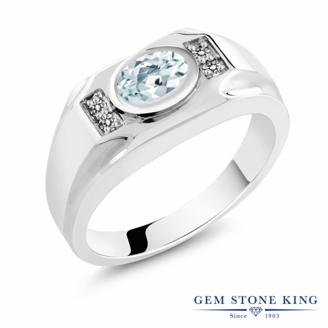 最新作 指輪 リング レディース 1.23カラット 天然 アクアマリン ダイヤモンド シルバー925 大粒 マルチストーン 天然石 3月 誕生石 プレゼント, ma-ma ecb9c7d0